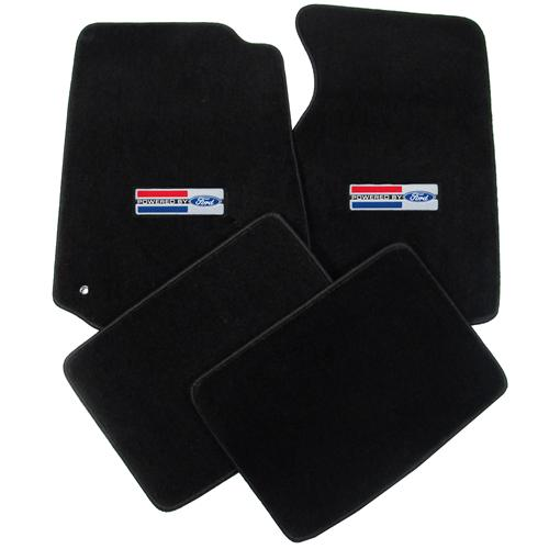 Mustang Floor Mats w/ Powered By Ford Logo Black (94-04)