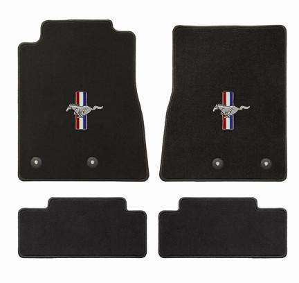 Mustang Floor Mats w/ Pony Logo Black  (13-14) - Picture of Mustang Floor Mats w/ Pony Logo Black  (13-14)