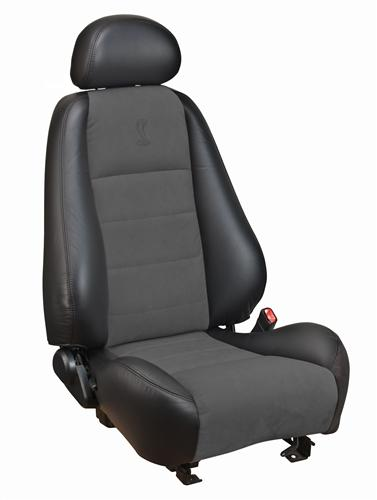 Mustang Cobra Coupe Leather Seat Upholstery with Dark Charcoal Suede Inserts (03-04)