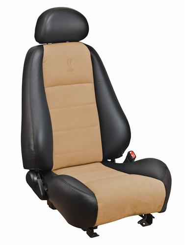 Mustang Cobra Coupe Leather Seat Upholstery with Parchment Suede Inserts (03-04)