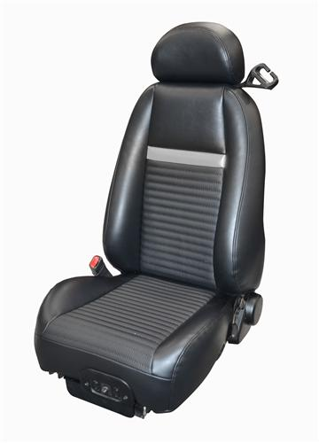 Mustang Mach 1 Coupe Leather Seat Upholstery Dark Charcoal with Silver Stripe (03-04)