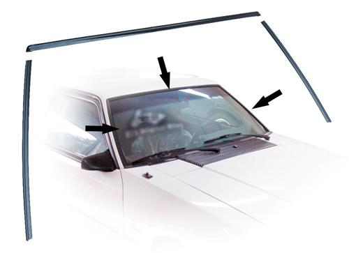 Mustang Front Windshield Molding Kit Black (79-93) Coupe Hatchback