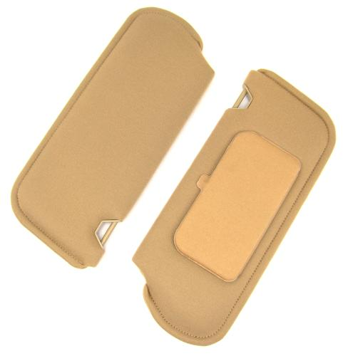 Mustang Sun Visors with Vanity Mirror Desert Tan/Sand Beige Cloth (85-89)