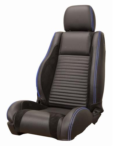 Mustang GT/V6 Sport R Upholstery Black/ Blue Stitching Leather (05-07) Coupe