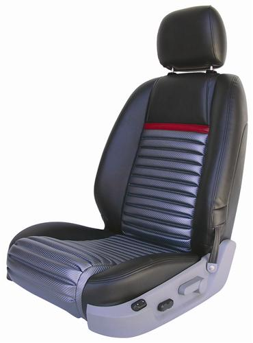 Mustang GT/V6 Mach 1 Upholstery Black/Red Stripe Leather (05-07) Coupe