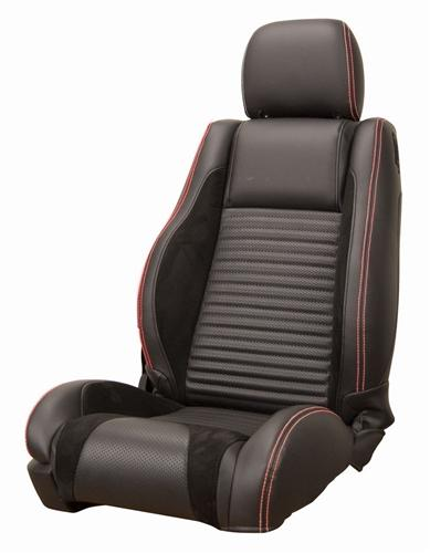 Mustang GT/V6 Sport R Upholstery Black/Red Stitching Leather (05-07) Convertible