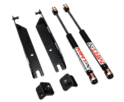 2005-13 Mustang Mrt Hood Struts, No Drill, Carbon Fiber Finish - 05-14 Mustang MRT hood struts kit picture