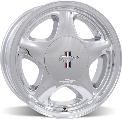 Mustang 16X7 Chrome Pony Wheel w/ Ford Licensed Center Cap (79-93)