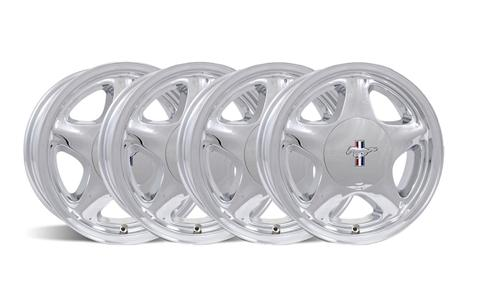 Mustang 16X7 Chrome Pony Wheel w/ Center Cap Kit (79-93)