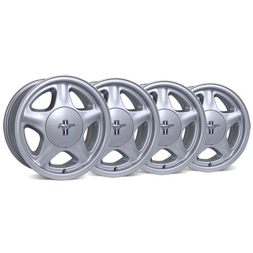 Mustang Pony Wheel And Licensed Cap Kit - 16x7 Silver (79-93) - Mustang Pony Wheel And Licensed Cap Kit - 16x7 Silver (79-93)