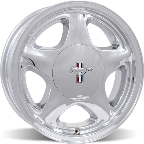 1979-93 PONY WHEEL, 17X10, 4-LUG CHROME +25 offset w/ Pony Cap