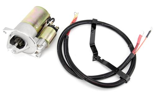 1986-93 MUSTANG 5.0L PMGR STYLE STARTER & OEM Style Starter Cable Kit  PMGR style High Torque Mini starter, starter cable comes with  OEM style power & trigger cable, featuring factory loom and correct mounting brackets for mounting to engine block.