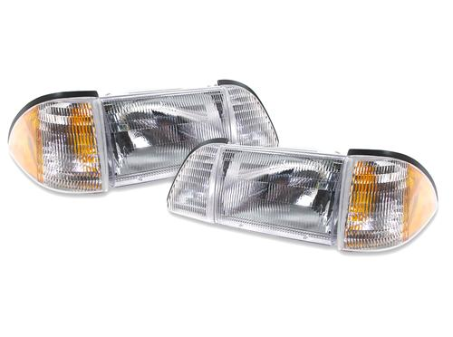 87-93 MUSTANG ECONOMY HEADLIGHT KIT WITH AMBER SIDEMARKERS