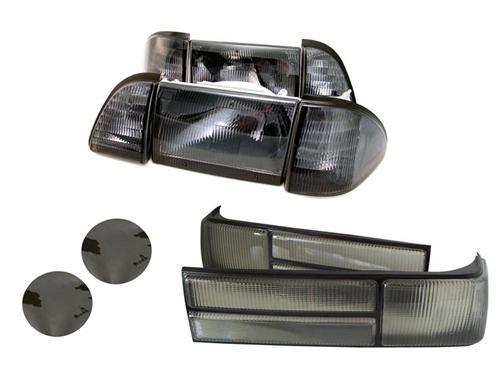 1987-93 Mustang GT Smoked Headlight & Tailight Kit with Smoked Fog Light Tint.   This Consists Of Lrs-13007Sm-Kit,  Sve-15203S, And Lrs-13450Sm