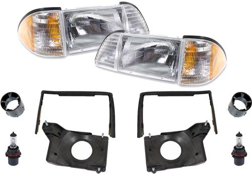 87-93 MUSTANG DELUXE HEADLIGHT KIT WITH AMBER SIDEMARKERS
