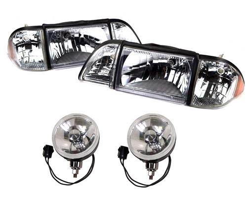 1987-93 Mustang GT Ultra Clear Headlight & Fog Light Resto Kit  Does LRS-13008uclk and LRS-15200cd-c