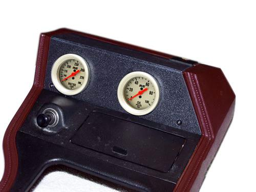 1979-86 Mustang Console Gauge Pod Kit w/ SVE Oil Pressure & Water Temp Gauges  Lrs-13594B Sve-Ut89011 Sve-Ut89022 - installed picture of 1979-86 Mustang Console Gauge Pod Kit w/ SVE Oil Pressure & Water Temp Gauges  Lrs-13594B Sve-Ut89011 Sve-Ut89022