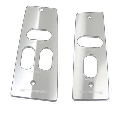 Mustang Window Switch Covers Satin Billet with Stang Logo  (87-93)