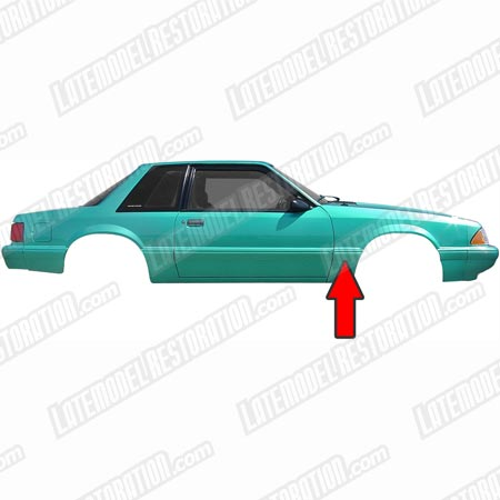 Mustang Right Hand Rear Of Fender Molding (87-93) LX