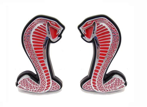 Mustang GT500 Fender Emblem Pair Chrome with Red Inserts (07-13)