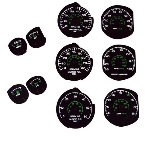 1979-82 Mustang Factory Black Face Gauge Kit.   - Picture of 1979-82 Mustang Factory Black Face Gauge Kit.  This Kit Is A Series Of Decals To Accomidate All Fitments From 79-82, Meaning 4 Cly, V6, V8 Etc. I Have Samples In My Office When You Are Read
