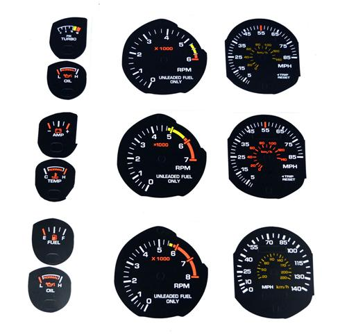 1983-86 Mustang Factory Black Face Gauge Kit. - Picture of 1983-86 Mustang Factory Black Face Gauge Kit.  This Is A Series Of Decals That Will Accomidate All Styles, Meaning 4Cyl, V6, Svo, V8 Etc. And Just Stick On Over The Existing Faded Gauge. Th