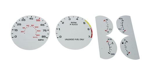 87-89 MUSTANG 5.0 WHITE FACE GAUGE KIT W/ 85 MPH SPEEDO