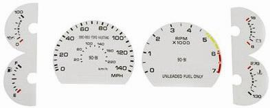 90-93 MUSTANG 5.0 WHITE FACE GAUGE KIT FOR 140 SPEEDO