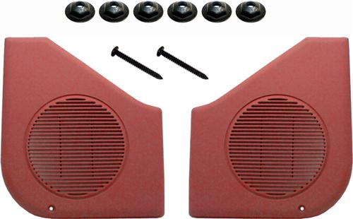 87-93 MUSTANG SCARLET RED DOOR SPEAKER GRILLE KIT