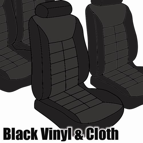 TMI Mustang Seat Upholstery Black Cloth/Vinyl (1982) GL Coupe Low