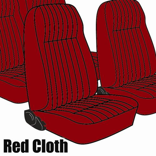 TMI Mustang Seat Upholstery Medium Red Cloth (1983) L Coupe High