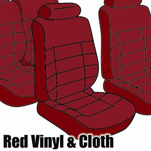 Mustang Seat Upholstery, Standard Low Back Medium Red Cloth (1983) Coupe