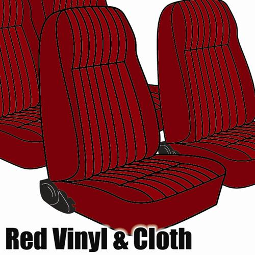 TMI Mustang Seat Upholstery Medium Red Cloth (1983) L Hatchback High