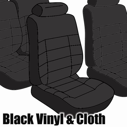TMI Mustang Seat Upholstery Black Cloth (1983) GLX Hatchback Low