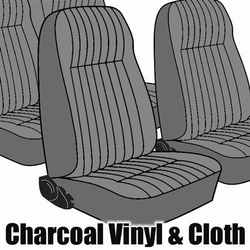 TMI Mustang Seat Upholstery Charcoal Gray Cloth (1984) L Coupe