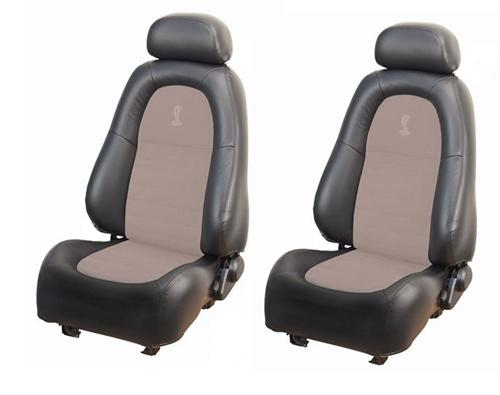 TMI Mustang Cobra Leather Seat Upholstery Kit Dark Charcoal/Parchment (2001) Coupe