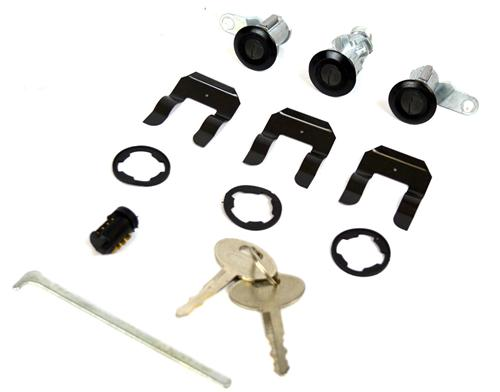 Mustang Mustang Lock Set with Black Bezel (87-93) - Kit Photo