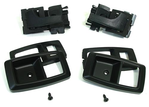 79-93 MUSTANG DELUXE INNER DOOR HANDLE & BEZEL KIT, SOLID BLACK, INCLUDES BEZELS, SCREWS AND DOOR HANDLES