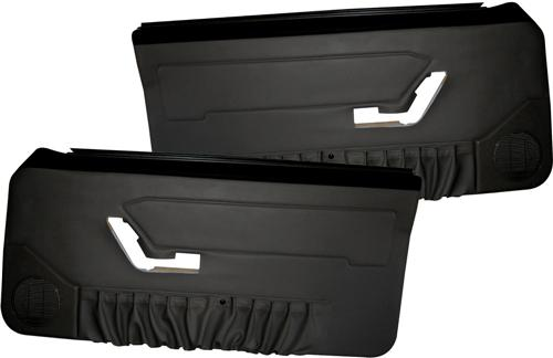 Mustang Deluxe Door Panels for Hardtop w/ Manual Windows Black (90-93)