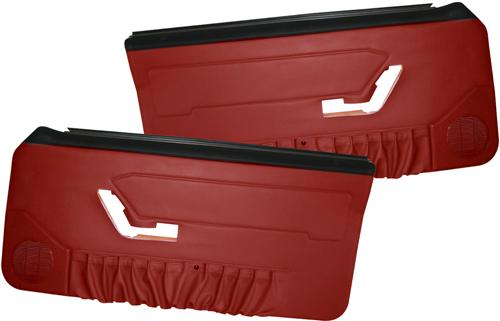 Mustang Deluxe Door Panels for Hardtop w/ Power Windows Scarlet Red (90-92)