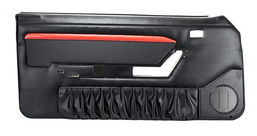 TMI Mustang Mach 1 Style Door Panels w/ Power Windows Black/Red (90-93) Convertible