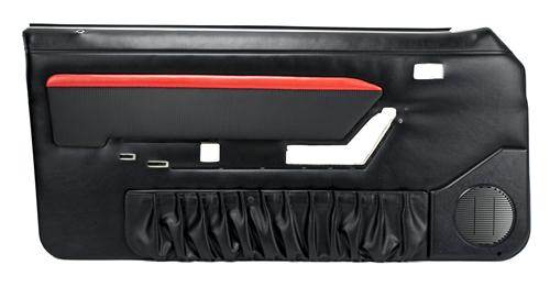 Mustang Mach 1 Style Door Panels w/ Power Windows Black/Red (87-89)