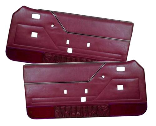 TMI Mustang Deluxe Door Panels for Hardtop w/ Manual Windows Canyon Red (84-86) - TMI Mustang Deluxe Door Panels for Hardtop w/ Manual Windows Canyon Red (84-86)