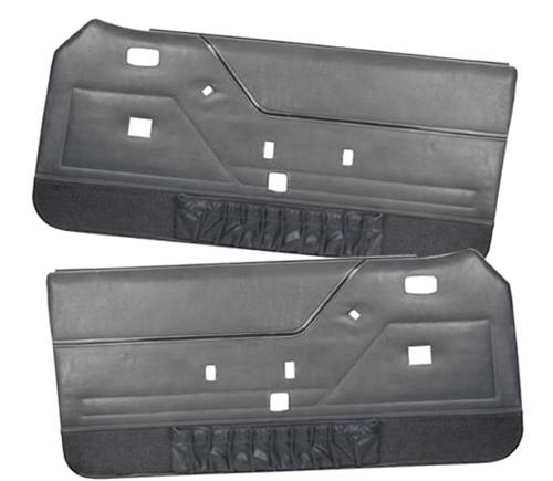 Mustang Deluxe Door Panels for Hardtop w/ Manual Windows Charcoal Gray (84-86) - Picture of Mustang Deluxe Door Panels for Hardtop w/ Manual Windows Charcoal Gray (84-86)
