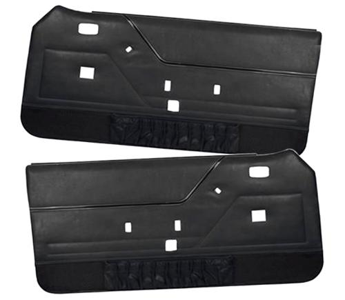 TMI Mustang Deluxe Door Panels for Hardtop w/ Manual Windows Black (81-86)
