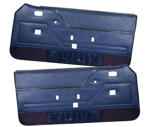 Mustang Deluxe Door Panels for Hardtop w/ Manual Windows Regatta Blue (85-86) - picture of Mustang Deluxe Door Panels for Hardtop w/ Manual Windows Regatta Blue (85-86)