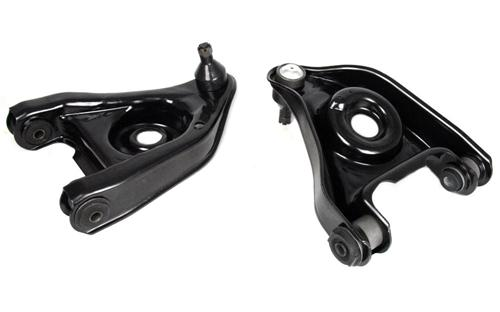 79-93 MUSTANG FRONT LOWER CONTROL ARM Kit  comes with both RH&LH control arms  New Stamped Steel Lower control arm just like OE.  Market as OE Replacement.  Includes new control arm, rubber control arm Bushings & ball joints Pre-installed.  Bolt on Control arm assembly.