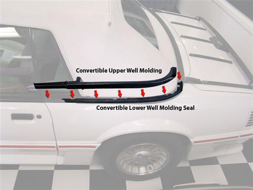 Mustang Lower Well Molding (87-93) Convertible