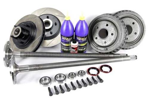 87-93 MUSTANG COMPLETE 5-LUG CONVERSION KIT WITH SLOTTED ROTORS & 28 SPLINE REAR AXLES