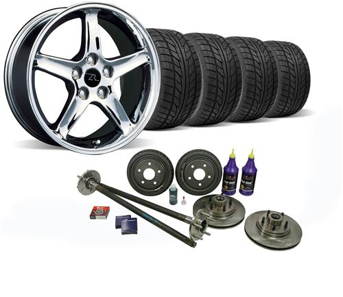 87-93 MUSTANG CHROME COBRA R WHEEL & NITTO TIRE KIT WITH MUSTANG 5-LUG CONVERSION KIT